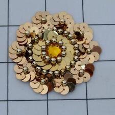 GOLD SEQUIN BEADED FLOWER APPLIQUE  2416-D