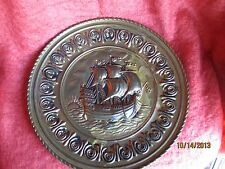 New listing Vintage England Brass Engraved Decorative Nautical Wall Plate/Wall Hangi