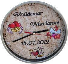 Wanduhr Hochzeit mit Name Datum Ring Taube/Geschenk/Uhr