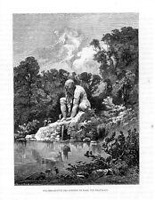 Stampa antica PRATOLINO FIRENZE Statua Colosso 1876 Old print Florence Engraving