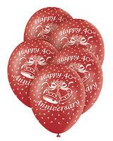 "5 Red RUBY 40th Wedding Anniversary 12"" Superprint Premium Pearlised Balloons"