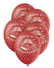 5 Rosso RUBY 40esimo Anniversario Di Matrimonio 30.5cm Superprint Premium