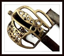 ANTIQUE SCOTTISH ENGLISH OFFICER'S BASKET HILT BROAD SWORD ~ VICTORIAN TO WW I
