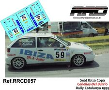DECAL/CALCA 1/43; Seat Ibiza GTI; Cañellas-Del Barrio; Rally Catalunya 1999