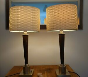 """Quality Set of 2 Chelsom Large Table Lamp Stand Wood & Metal 50 cm (20"""")H"""