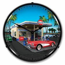 1959 Corvette Gulf Station LED Clock Garage Oil Car Man Cave Lighted Nostalgic