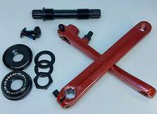 BMX 3 Piece Crankset Crank Arms Axle Bottom Bracket Old School US Sized      RED