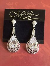Mariell USA Wedding Bridal Cubic Zirconia Pear Long Drop Stud Earrings - NEW