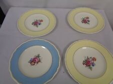 4 VINTAGE ROYAL DOULTON 1950's PLATES SPRING FLOWER DESIGN 3 YELLOW-1 TURQ (TR)