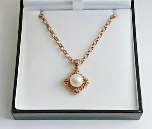 """White PEARL ROSE GOLD PENDANT & NECKLACE 30.75"""" long belcher chain 3mm wide link"""