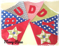 Baby Boy Personalised NAME BUNTING/BANNER Red, Blue, Green Yellow, Cars Stars