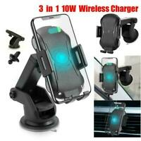 Qi Car Wireless Auto Charger Fast Charging Mount Clamping Phone Holder Vent T8I1