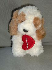 "Russ Berrie Puddin Cocker Spaniel Puppy Dog I Woof You Brown Tan Cream 6"" Heart"