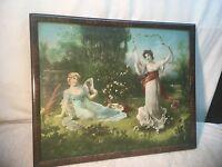 Vintage 1900s Litho print in frame Girls in The Garden 21in x 17in