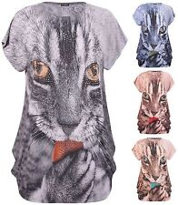 Womens Plus Size Top Diamante Stud Animal Printed Cap Sleeve Ladies Long T-Shirt