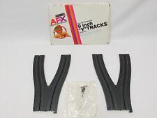 "AURORA AFX 9"" Y TRACKS ~ PAIR W/HRDWR IN BOX ~ NOS COND ~ NO BROKEN TABS ~ RARE!"