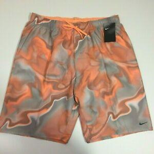 NEW Nike Men's 2XL Swim Shorts Trunks Mesh Lined NESS9515-849 XXL Orange Gray