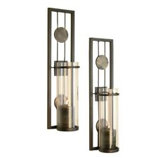 Danya B Set of Two Contemporary Metal Wall Sconces With Antique Patina Medallion