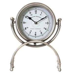 Brand New Round Rustic Silver Metal Table Clock