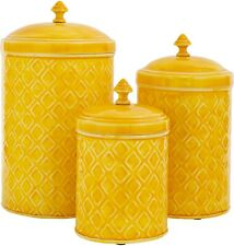 SET OF 3 YELLOW METAL CANISTERS LARGE/MEDIUM/SMALL