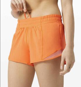 """Lululemon Hotty Hot Low Rise Shorts 2.5"""" Inseam Size 2 Highlight Orange NWT!"""