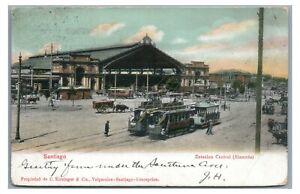 Trolleys on Alameda Estacion Central SANTIAGO de Cuba Postcard