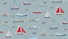 Marina Boats Silver Grey 100 Cotton Fabric by Makower FQ