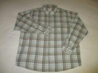 Wrangler Mens 3XL Long Sleeve Green Tan White Plaid Check 100% Cotton Shirt