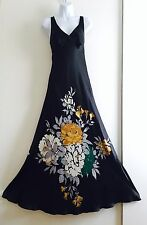 Monsoon Silk Maxi Dress Floral. Promo Party Formal. Black Long Full Dress. UK 10