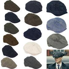 Mens Cavani Baker Boy Style Tweed Flat Cap Herringbone Blue Peaky Blinders Hat