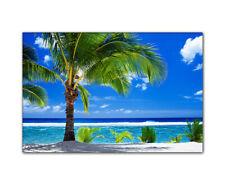 Leinwandbild Strand mit Palme - kein bohren nötig - bespannt auf Holzkeilrahmen