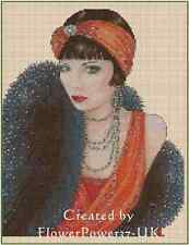 Counted Cross Stitch Art Deco Lady Orange Red/Black Stole COMPLETE KIT- No.1-18b