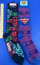 Avengers & Superman Men's Socks 2 Pairs Knee High Heavyweight Boot Marvel DC NWT