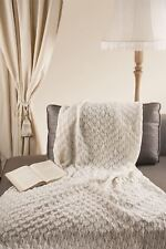 "Leaf Style 100% Merino Wool 43"" x 66"" Throw Blanket [Ecru White]"