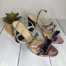 J. Crew Collection Pink Blue and Gold Bow Strappy Heel Sandal - Size 9