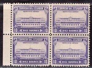 ECUADOR 1950 AIR MAIL STAMP Sc. # C 221 MNH BLOCK OF FOUR