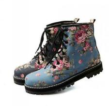 Womens Floral Pattern British Oxford Mid Calf Boots Flat Heel Shoes All UK Size