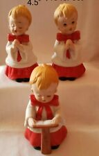 3 Vntg Homco Home Interior #5550 Set Christmas Choir Boys Singing Carolers