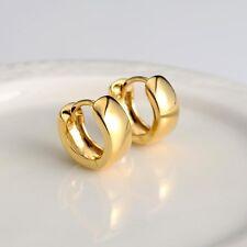 18k Gold Filled Charms Earrings 13MM Smooth Hoop Huggie Women's Jewelry