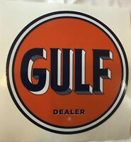 """4 3/4"""" Gulf Dealer Decal NEW / FREE SHIPPING / GAS PUMP STICKERS / *GAS & OIL"""