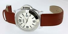 NOW Mens Watch Polycarbonate White Dial Tan Leather Brand New Boxed 3ATM WR