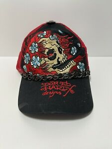 Rare Ed Hardy by Christian Audigier Embroidered Trucker Hat Red Skull Flowers