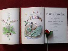 GRANDVILLE : LES FLEURS ANIMEES : 2 volumes  , sans date  ...1867