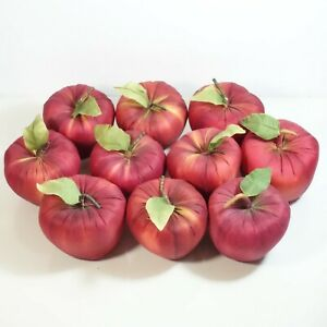 Artificial Silk Red Apples w/ Green Leaf at Stem - 10 pieces of Faux Fruit