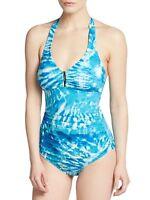 Calvin Klein Swim One Piece Sz 6 Cerulean Blue Halter UPF 50+ Swimsuit CG5MB547