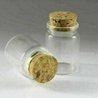 35ML 10Pcs Empty Sample Vials Clear Glass Bottles with Corks Jars Containers