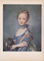 """1939 Vintage """"GIRL WITH A CAT"""" by PERRONEAU A LOVELY Color Art Plate Lithograph"""