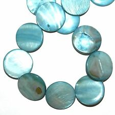 MP1595L Teal Blue Mother of Pearl 30mm Flat Round Gemstone Shell Beads 16""