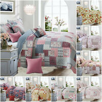 Quilted Printed Patchwork Bedspread Throw Floral Bedding Set with Pillow Shams