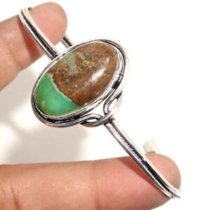 Chrysoprase 925 Silver Plated Adjustable Bangle Handmade Jewelry GW